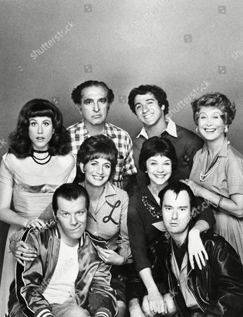 Penny Marshall, left, (Laverne) and Cindy Williams (Shirley). Front row: Michael McKean, left, (Lenny) and David L. Lander (Squiggy). Back row, (left to right) Carole Ita White (Rosie Greenbaum), Phil Foster (Frankf De Fazio, Laverne's father), Eddie Mekka (Carmine) and Betty Garret (Mrs. Babish