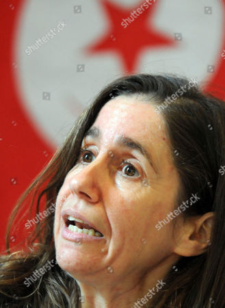 Stock Image of Maya Jeridi General Secretary of the PDP Tunisian opposition party Maya Jeridi reacts during a press conference, in Tunis after a young man whose self-immolation touched off nearly three weeks of unrest in Tunisia has died in a hospital burns ward. His act sparked violent protests over unemployment that have led to three deaths. Unrest is rare in Tunisia, a popular tourist destination on the Mediterranean where the government brooks little dissent and is routinely criticized for its human rights record
