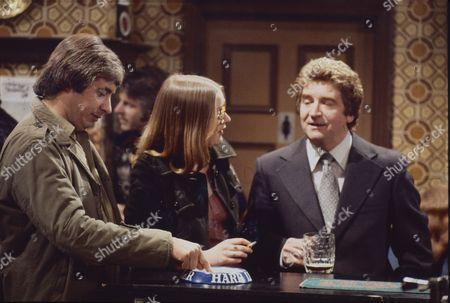 Stock Photo of Neville Buswell (as Ray Langton) Anne Kirkbride (as Deirdre Langton) and Peter Adamson (as Len Fairclough)