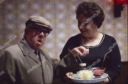 Jack Howarth (as Albert Tatlock) and Betty Driver (as Betty Turpin)