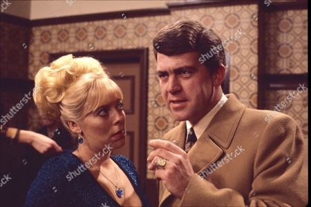 Graham Weston (as George Livesey) and Julie Goodyear (as Bet Lynch)