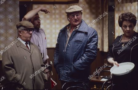 Jack Howarth (as Albert Tatlock) Fred Feast (as Fred Gee) and Betty Driver (as Betty Turpin)