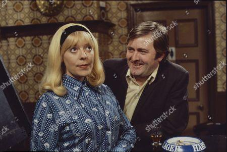Julie Goodyear (as Bet Lynch) and Peter Childs (as Cliff Mottram)