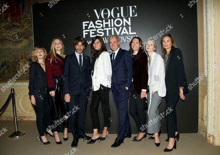 Anne-Laure Sugier, Jennifer Neyt, Olivier Lalanne, Emmanuelle Alt, Xavier Romatet, Delphine Royant, Suzanne Koller and Brune de Margerie (left to right)
