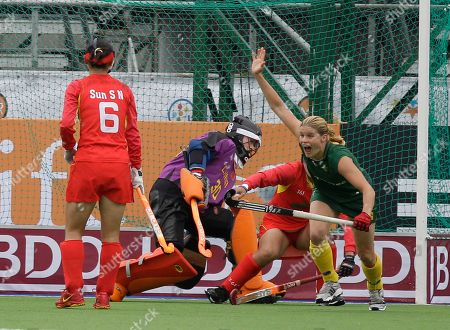 Jennifer Wilson South Africa's Jennifer Wilson, right, celebrates after scoring against China during a women's Field Hockey World Cup match in Rosario, Argentina, . China won 4-1