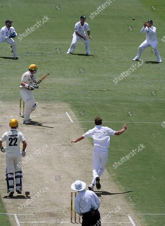 Stuart Broad England's Stuart Broad, center right, captures the wicket of Marcus North, center left, caught Graeme Swann for 19 runs during the 3 day match against Western Australia at the WACA Ground in Perth, Western Australia. Friday, November 5,2010