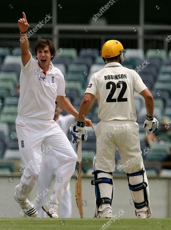 Steven Finn, Wes Robinson England's Steven Finn, left, appeals successfully for the wicket lbw of Western Australian Michael Swart, watched by fellow West Australian batsman Wes Robinson (22), during the final days play of their cricket match at the WACA Ground in Perth, Australia