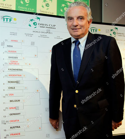 Francesco Ricci Bitti International Tennis Federation President Francesco Ricci Bitti stands next to the board of draws for the Davis Cup 2011 at BNP Paribas headquarters in Brussels on . The United States will travel to Chile for its first World Cup group match in the 2011 Davis Cup, its second tough South American opponent in a row