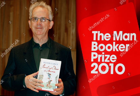 Peter Carey Peter Carey with his book 'Parrot and Olivier in America', one of the six shortlisted authors for the 2010 Man Booker Prize takes part in a photocall on the stage of the Royal Festival Hal in London, . The winner will be announced on Tuesday, Oct. 12 at a dinner at London's Guildhall