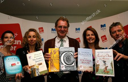 Stock Picture of Judges, from left, Rosie Blau, Literary Editor of the Financial Times, Frances Wilson, writer, Chair Andrew Motion, Professor of Creative Writing at Royal Holloway College, Deborah Bull, Creative Director of the Royal Opera House, and Tom Sutcliffe, author, broadcaster and journalist, pose for photographers with short listed books during a press conference for the 2010 Man Booker Prize for Fiction in London, . The judges have Tuesday announced the short listed books, which are Peter Carey 'Parrot and Olivier in America', Emma Donoghue 'Room', Damon Galgut 'In a Strange Room', Howard Jacobson 'The Finkler Question', Andrea Levy 'The Long Song', and Tom McCarthy 'C