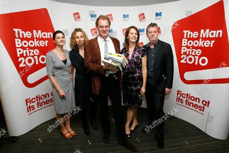 Judges, from left, Rosie Blau, Literary Editor of the Financial Times, Frances Wilson, writer, Chair Andrew Motion, Professor of Creative Writing at Royal Holloway College, Deborah Bull, Creative Director of the Royal Opera House, and Tom Sutcliffe, author, broadcaster and journalist, pose for photographers with short listed books during a press conference for the 2010 Man Booker Prize for Fiction in London, . The judges have Tuesday announced the short listed books, which are Peter Carey 'Parrot and Olivier in America', Emma Donoghue 'Room', Damon Galgut 'In a Strange Room', Howard Jacobson 'The Finkler Question', Andrea Levy 'The Long Song', and Tom McCarthy 'C