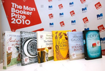 The shortlisted books are seen displayed after a press conference for the 2010 Man Booker Prize for Fiction in London, . The judges have Tuesday announced the shortlisted books, which are Peter Carey 'Parrot and Olivier in America', Emma Donoghue 'Room', Damon Galgut 'In a Strange Room', Howard Jacobson 'The Finkler Question', Andrea Levy 'The Long Song', and Tom McCarthy 'C