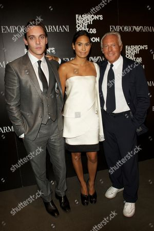 Irish actor Jonathan Rhys Meyer, Reena Hammer and Italian fashion designer Giorgio Armani attend the Fashion's Night Out: Giorgio Armani celebration at Emporio Armani, London
