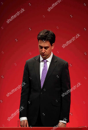 Stock Image of Ed Miliband Ed Miliband, the newly-elected leader of Britain's opposition Labour Party, pays tribute to late party leader Michael Foot, during the party's annual conference, in Manchester, England, . Labour elected young lawmaker Ed Miliband as its new leader Saturday after he narrowly defeated his older and better-known brother David Miliband in a contest to replace former prime minister Gordon Brown
