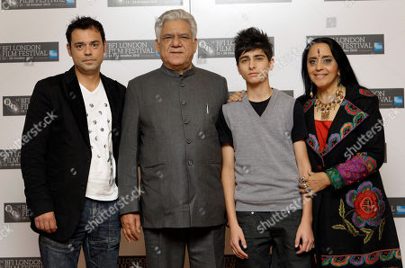 Emil Marwa, Om Puri, Aquib Khan, Ila Arun From left actors Emil Marwa from Norway, Om Puri from India, Aqib Khan of Britain, and Ila Arun from India pose during a London Film Festival photocall of West is West, at a central London cinema, . The festival runs until Oct. 28