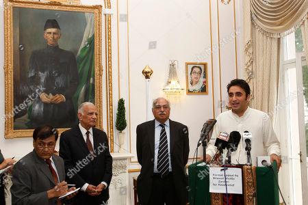 Bilawal Bhutto Zardari, Wajid Shamsul Hasan, Bashir Riaz Chairman of Pakistan Peoples Party, Bilawal Bhutto Zardari, right, launches a donation point for victims of the floods ravaging northern Pakistan at the Pakistan High Commission in London, . Listening on are Pakistan High Commissioner, Wajid Shamsul Hasan, second right, and Bashir Riaz, former spokeman for Benazir Bhutto, second left. Bilawal Bhutto Zardari, son of late Benazir Bhutto, canceled plans to attend a political rally in Birmingham, England, after his father, President Asif Ali Zardari came under fire for visiting Europe while Pakistan faced its worst floods in 80 years