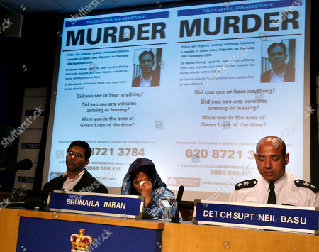 Shumaila Imran Shumaila Imran and Detective Chief Superintendent Neil Basu, right, appeal for information relating to the murder of her husband, Pakistani politician, Imran Farooq, at a police press conference at New Scotland Yard in London, . Farooq was murdered outside his home in London on Sept. 16 where he was was living in exile after fleeing his homeland 11 years ago following death threats. His murder sparked violence in Karachi, where vehicles and shops were set alight despite a call for 10 days of peaceful mourning