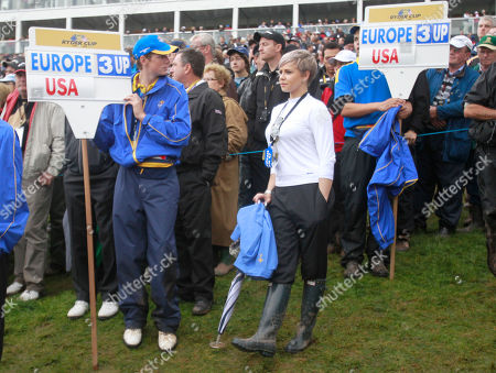 Holly Sweeney, girlfriend of Europe's Rory McIlroy watches the play on the third day of the 2010 Ryder Cup golf tournament at the Celtic Manor Resort in Newport, Wales