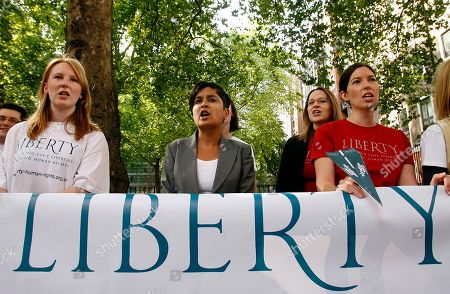 Stock Picture of Human rights group Liberty director Shami Chakrabarti, center, and campaigners hold a protest against Britain's extradition laws outside Westminster Magistrates' Court in London, where businessman Chris Tappin's extradition hearing is held. Tappin is alleged to have sold batteries, sourced in the U.S., for surface-to-air missiles to Tehran. He denies the allegations and is fighting extradition to the U.S