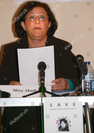 Stock Picture of Representative for the anti-capital punishment organization, the International Committee Against Executions and the International Committee Against Stoning, coordinator Mina Ahadi makes a statement to the media in London, in support of Iranian woman Sakineh Mohammadi Ashtiani who is sentenced to stoning after an Iranian court found her guilty of having sex outside of marriage. The anti captial punishment group hope to bolster international support to their cause and bring a reprieve for the stoning of Sakineh Mohammadi Ashtiani