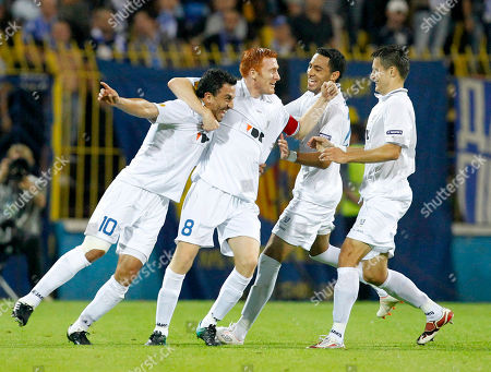 KAA Gent's Randall Azofeifa, 2nd left, celebrates with his teammates after scoring against PFC Levski Sofia during their Europa League Group C soccer match in Sofia, on
