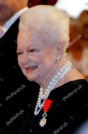 Olivia de Havilland Japan born British actress Olivia de Havilland, after being awarded the Knight of the Legion of Honor by French President Nicolas Sarkozy, at the Elysee Palace, in Paris. Actress Olivia de Havilland is 100 on July 1, 2016