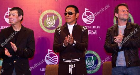Christian Slater, Chen Daoming, Feng Xiaogang Actor Christian Slater, right, Chinese actor Chen Daoming, center, and director Feng Xiaogang, left, clap during a press conference for the Mission Hills Star Trophy golf tournament at the Mission Hills Golf Club in Haikou, in southern China's island province Hainan, . The tournament, which invites both celebrities and professional golf players, offers a reward of 1.28 million dollars for the winner