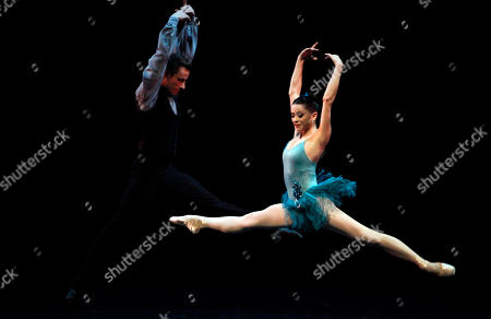 """Megan Fairchild, Andrew Veyette Megan Fairchild, right, and Andrew Veyette, principal dancers of the New York City Ballet, perform """"Who Cares?"""", choreographed by George Balanchine at the Mella Theatre during the 22nd International Ballet Festival in Havana, Cuba"""