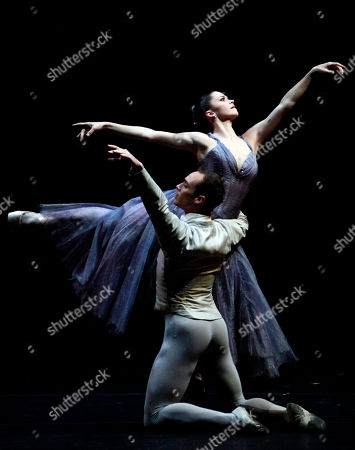 """Megan Fairchild, Tyler Angle Megan Fairchild, right, and Tyler Angle, principal dancers of the New York City Ballet, perform """"In the Night"""", choreographed by Jerome Robbins at the Mella Theatre during the 22nd International Ballet Festival in Havana, Cuba"""