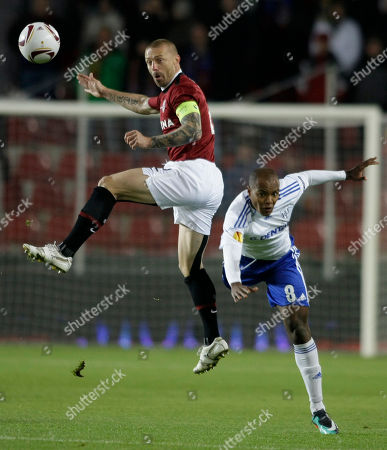 Silvio, Tomas Repka Silvio, right, from Lausanne-Sport challenges for the ball with Tomas Repka, left, from Sparta during their group F Europa League soccer match a in Prague, Czech Republic