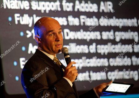 Jim Balsillie, Co-CEO of Research In Motion, RIM, maker of BlackBerry, shows the BlackBerry PlayBook as he provides an update on the latest BlackBerry product developments during the GITEX exhibition in Dubai, United Arab Emirates