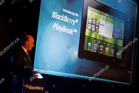 Jim Balsillie, Co-CEO of Research In Motion, RIM, maker of BlackBerry, presents the BlackBerry PlayBook as he provides an update on the latest BlackBerry product developments during the GITEX exhibition in Dubai, United Arab Emirates