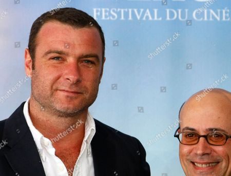 """Stock Photo of Liev Schreiber, Richard Levine U.S. actor Liev Schreiber, left, poses for photographers with U.S. director Richard Levine during a photocall for the film """" Every Day """" at the 36th American Film Festival, in Deauville, Normandy, France"""