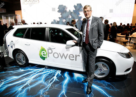 Stock Image of Jan Ake Jonsson Saab's President and CEO Jan Ake Jonsson stands by the e-power electric powered car during the press day of the Paris Auto Show