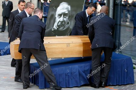 Claude Chabrol Pallbearers install the coffin of late French director Claude Chabrol during a public homage at the Cinematheque Francaise in Paris . Chabrol, one of the founders of the New Wave movement whose films probed the latent malice beneath the placid surface of bourgeois life died Sunday Sept. 12, 2010 at the age of 80