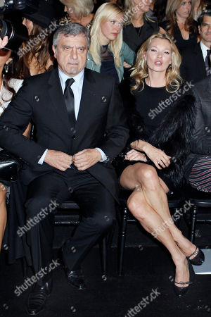 Kate Moss, Sydney Toledano Dior CEO Sydney Toledano, left, and British model Kate Moss, right, attends to British fashion designer John Galliano's ready-to-wear spring-summer 2011 fashion collection for Dior, in Paris, Friday Oct.1, 2010