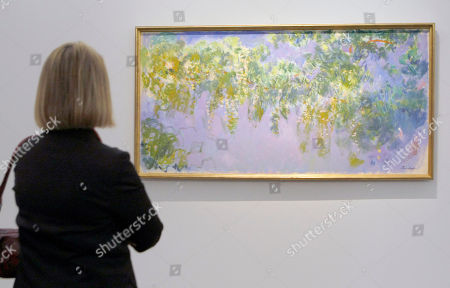 """Stock Photo of A visitor looks at the Monet painting """" Glycines"""" (1917-1920) at the Grand Palais Museum in Paris, . The museum presents the first restrospective exhibition in thirty years of Claude Monet's works (1840-1926). The exhibit, composed of some 200 paintings, will be open to the public from Sept. 22 to Jan 24"""
