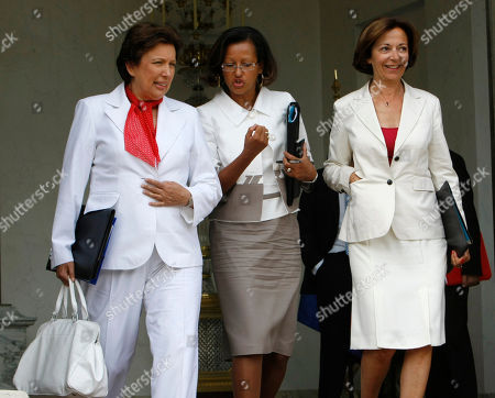 Roselyne Bachelot, Marie-Luce Penchard, Anne-Marie Idrac French Health Minister after Roselyne Bachelot, left, French Overseas Territories minister Marie-Luce Penchard, center, and deputy minister in charge of trade Anne-Marie Idrac leave the weekly cabinet meeting in Paris, Wednesday Aug.25 2010