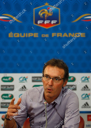Pal Sarkozy, Werner Hornung The coach of the French National soccer team, Laurent Blanc gestures as he speaks to the media during a press conference in Paris, . Blanc announced that Real Madrid striker Karim Benzema returned to the France squad for next week's friendly against Norway despite his involvement in an investigation over allegations that he solicited an underage prostitute