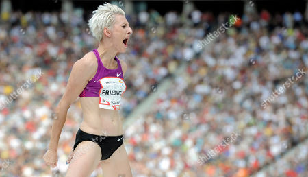 Ariane Friedrich Ariane Friedrich of Germany reacts after her last attempt in the Womens's High Jump of the ISTAF Athletics Meeting at the Olympic stadium in Berlin, Germany