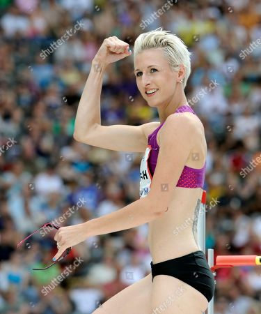 Ariane Friedrich Ariane Friedrich of Germany reacts after an attempt in the Womens's High Jump of the ISTAF Athletics Meeting at the Olympic stadium in Berlin, Germany