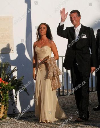 Newsmaker Names Prince Joachim of Denmark and Princess Marie of Denmark arrive at Agios Nikolaos church to attend the wedding ceremony of Prince Nikolaos, son of deposed King Constantine, and Tatiana Blatnik on the Greek island of Spetses