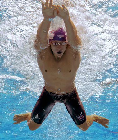 Britain's Roberto Pavoni swims a Men's 400m Individual Medley heat at the European Swimming Championships in Budapest, Hungary