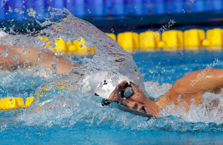 France's Sebastien Rouault swims a Men's 800m freestyle heat at the Swimming European Championships in Budapest, Hungary