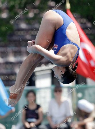 Britain's Monique Gladding makes an attempt during a Women's 10m platform preliminary competition at the Swimming European Championships in Budapest, Hungary