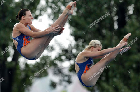 Britain's bonze medal winning team Monique Gladding and Megan Sylvester make an attempt during the Women's 10m synchronized platform diving final at the Swimming European Championships in Budapest, Hungary