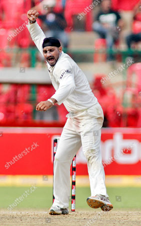 Harbhajan Singh India's Harbhajan Singh celebrates the dismissal of Australia's Marcus North, unseen, during the fourth day of their second cricket test match in Bangalore, India