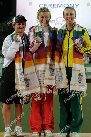 Val Smith, Natalie Melmore, Kelsey Cottrell Medal winners, from left, New Zealand's Val Smith, silver; England's Natalie Melmore, gold; and Australia's Kelsey Cottrell, bronze; pose together during an award ceremony for the women's lawn bowls singles event during the Commonwealth at Jawaharlal Nehru Sports Complex New Delhi, India