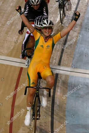 Megan Dunn Australia's Megan Dunn celebrates as she finishes for the gold medal in the women's 25 km points cycling race during the Commonwealth Games at the Indira Gandhi Sports Complex in New Delhi, India