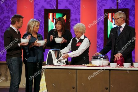 Graham Le Saux, Jennifer Saunders, Dr Tanya Byron, food critic Joyce, and Paul O'Grady.